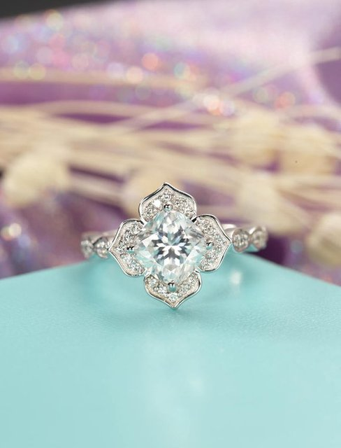 Myray Cushion Cut Moissanite Engagement Ring Diamond Halo Wedding