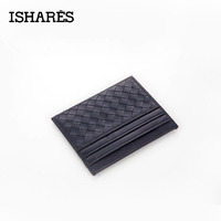ISHARES 2017 New Genuine Leather Weave Men Women Unisex Wallets Credit ID Card Holder Mini Wallet