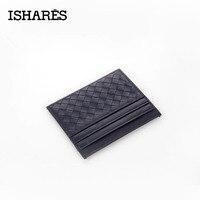 ISHARES 2017 New Genuine Leather Weave Men Women Unisex Wallets Credit ID Card Holder Mini Wallet