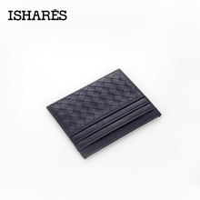 ISHARES 2017 New Genuine Leather Weave Men Women unisex Wallets Credit ID Card Holder Mini Wallet Case Purse Hand-woven IS6051