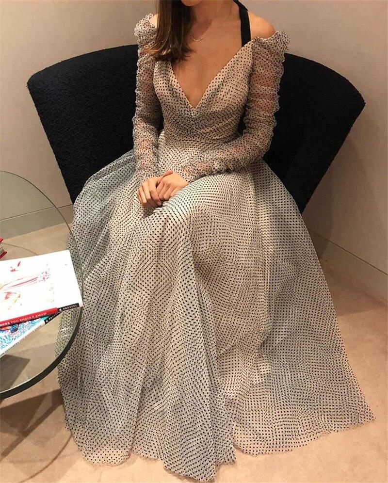 2019 spring lace mesh long dress backless elegant Dot women party dress