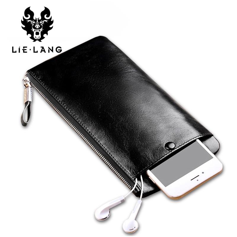 LIELANG Men's Long <font><b>Wallet</b></font> Luxury Genuine Leather Vintage Black <font><b>Wallet</b></font> Coin Purse Cow Leather Male Carteira Zipper Luxury <font><b>Wallets</b></font>