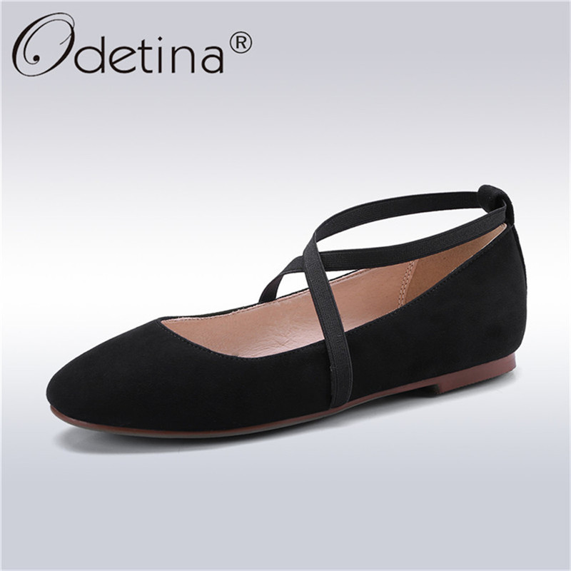 Odetina 2018 New Fashion Women Genuine Leather Flats Ankle Strap Ballet Flat Shoes Ladies Slip On Square Toe Soft Insole Shoes meotina women flat shoes ankle strap flats pointed toe ballet shoes two piece ladies flats beading causal shoes beige size 34 43