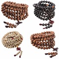 108 Tibetan Wood Agate Buddhist Buddha 9mm Prayer Beads Mala Bracelet Necklace