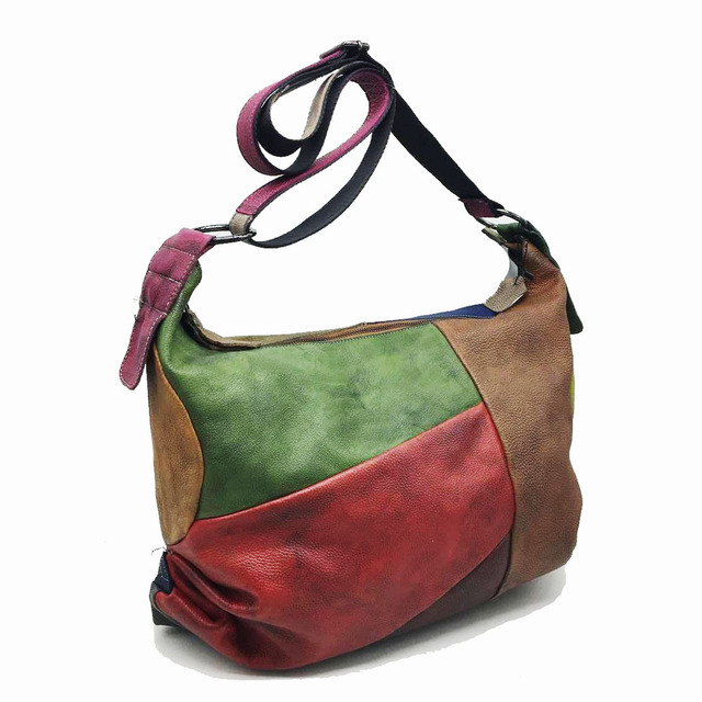 Patchwork Cowhide Leather Hobo Bag Women Casual Big Soft Cowhide Leather Slouch Bag Female Fashion Genuine Leather Shoulder Bag 2