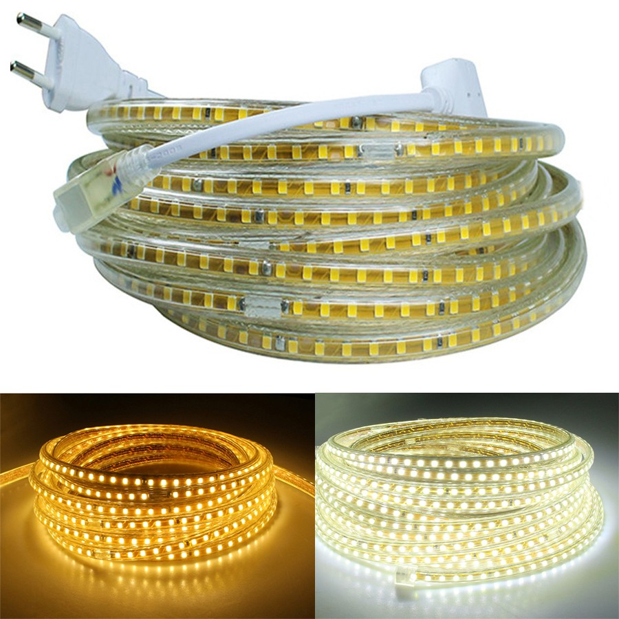 Flexible-Led-Strip-Light-220V-2835-SMD-120Leds-M-Yellow-PCB-1M-2M-3M-4M-5M