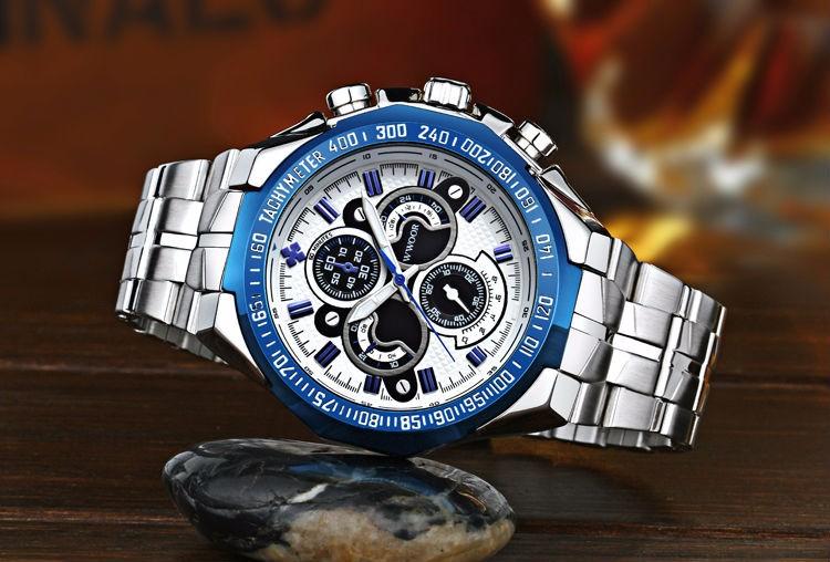 The New WWOOR Luxury Brand Men's Watches Stainless Steel Strap Sports Waterproof Watch Relogio Male Quartz Watch Leisure Watch 10