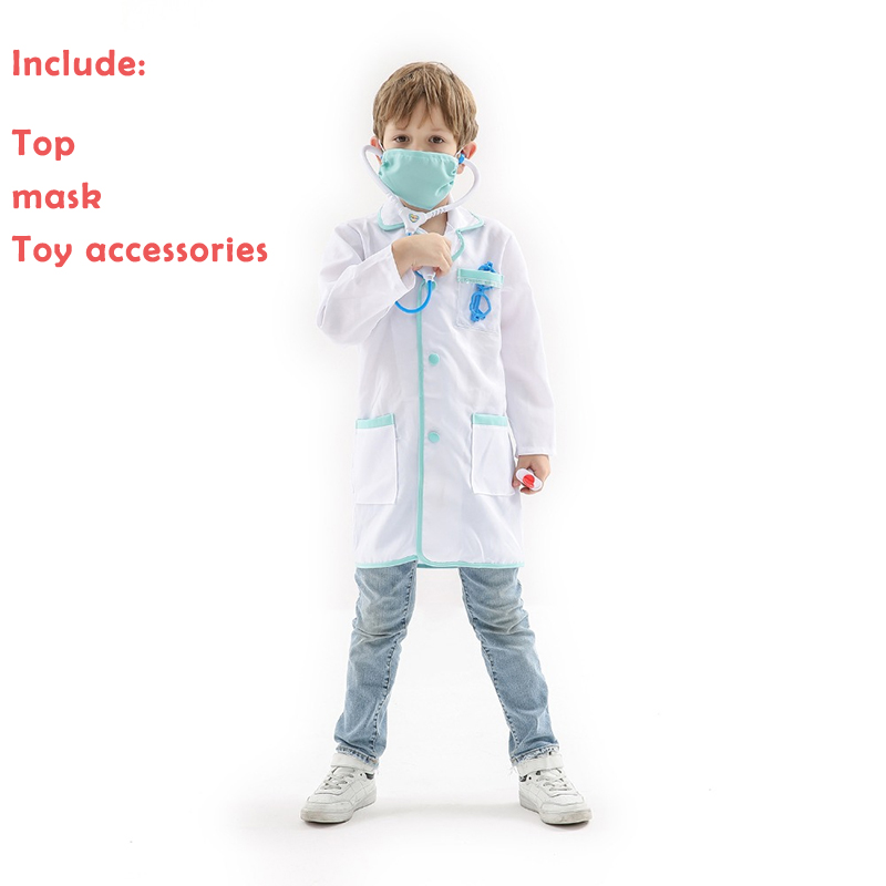 Costume Kids Role Playing Doctor Professional Costume Children's Day or Halloween as gift For Kid with Many Toy Accessories