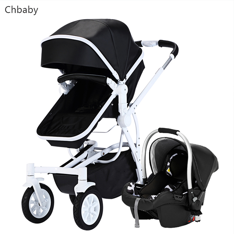 2 in 1 Luxury leather baby strollers newborn to 4 years baby use send 5 free gifts black and white choice 3 in 1 car original hot mum baby strollers 2 in 1 bb car folding light baby carriage six free gifts send rain cover