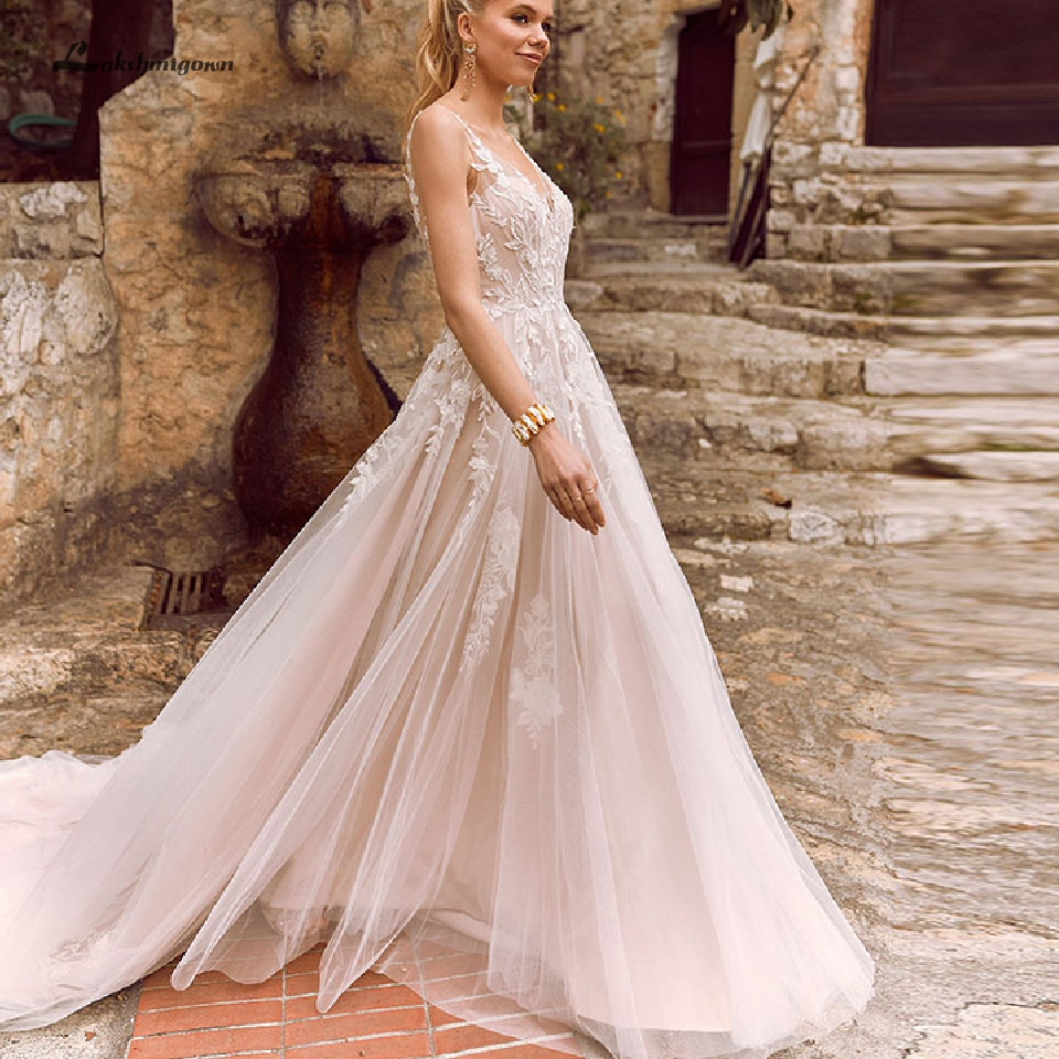 Lakshmigown Bohemian A Line Wedding Dress 2019 Vintage Lace Bridal Dresses Blush Pink Lining Open Back Sexy Wedding Party Gowns