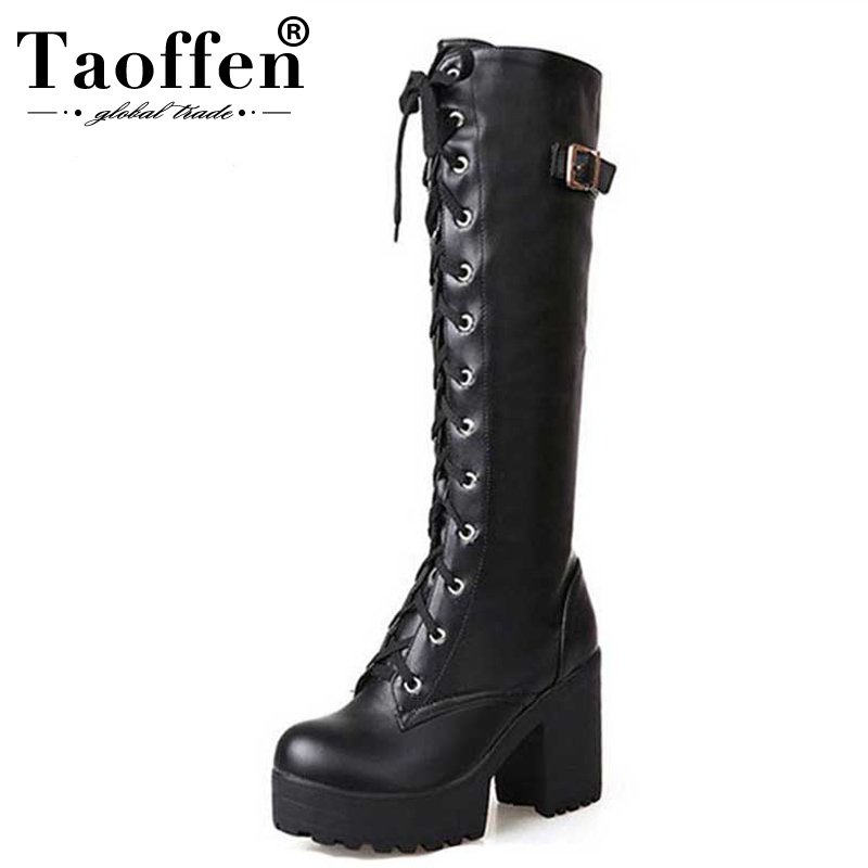 Taoffen Size 34 43 Sexy High Heel Boots Women Shoes Lace Up Thick Platform knee High Heels Winter Shoes Fur Women Snow Boots
