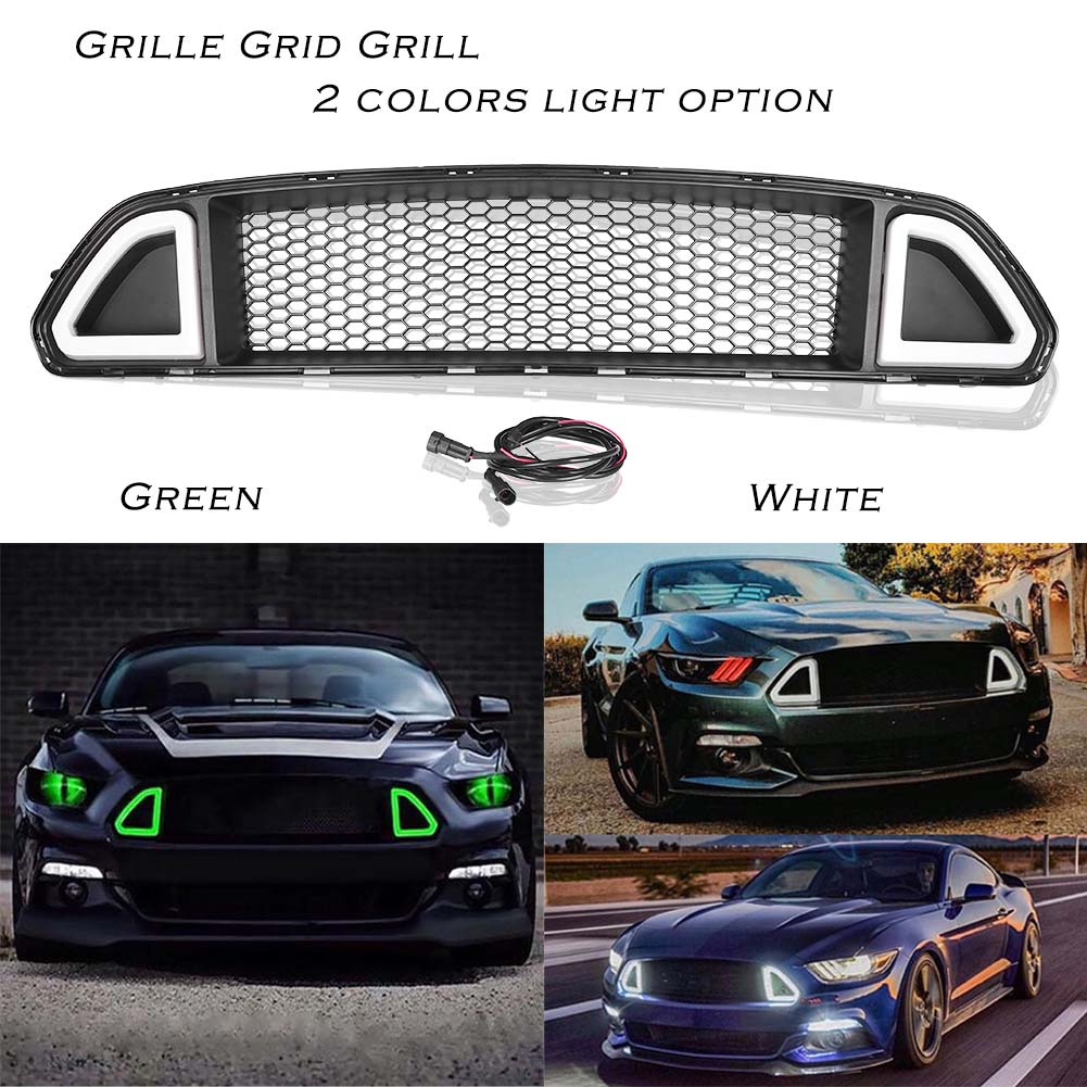For Ford Mustang 2015 2016 2017 Front Grille Center Grill w/ LED Light Lamp White /Green