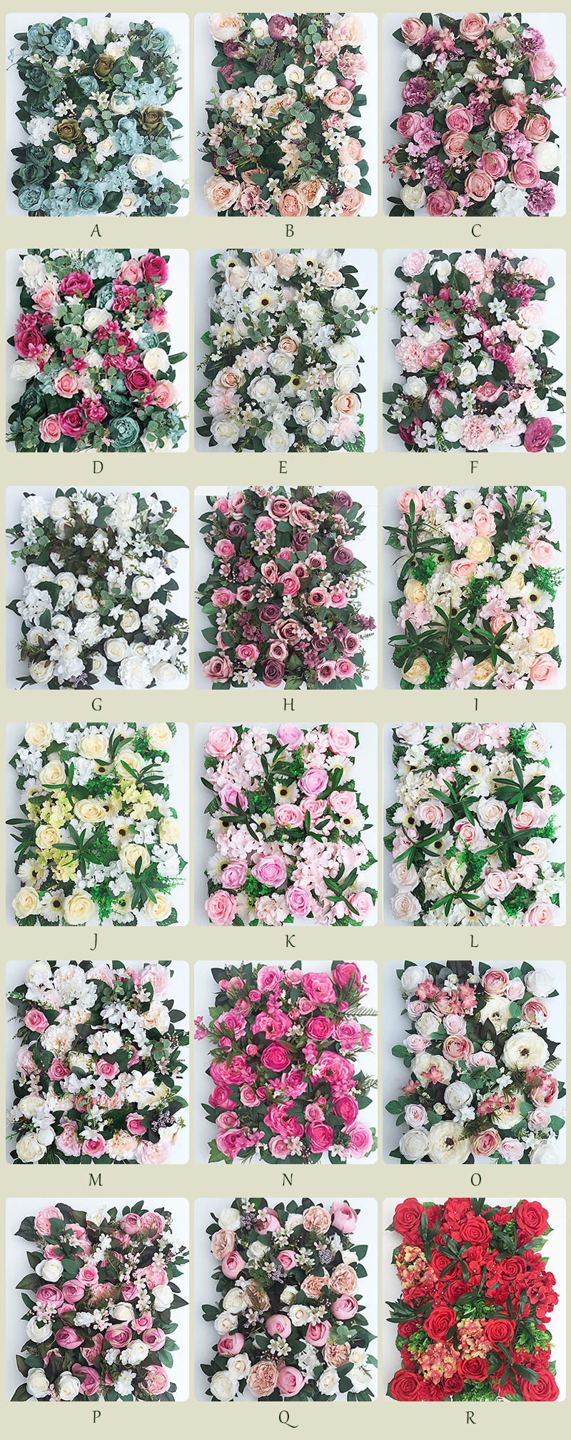 JAROWN Artificial Flower Row Simulation Rose Peony Hydrangea Background Wall Fake Flowers Wedding Feast Arrangement Props Flores (19)