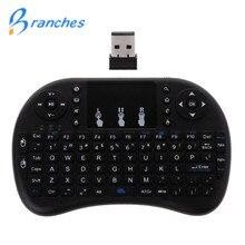 מיני i8 מקלדת אלחוטית 2.4 GHz אנגלית אותיות מולטימדיה אוויר עכבר מרחוק בקרת Touchpad עבור אנדרואיד הטלוויזיה Box