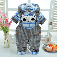 New Autumn Winter Cartoon Baby Clothing Thicken Long Sleeve+Suspender Trousers Soft Warm Newborn 3-6Months Infant 2Pcs/Set