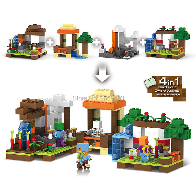 4 IN 1 Minecraft My World Craft Building Blocks Educational Toys Village Tree House brick my worlds Model kits Hobbies kid Gifts realts out of print product village house w base diorama building 1 35 miniart 36031