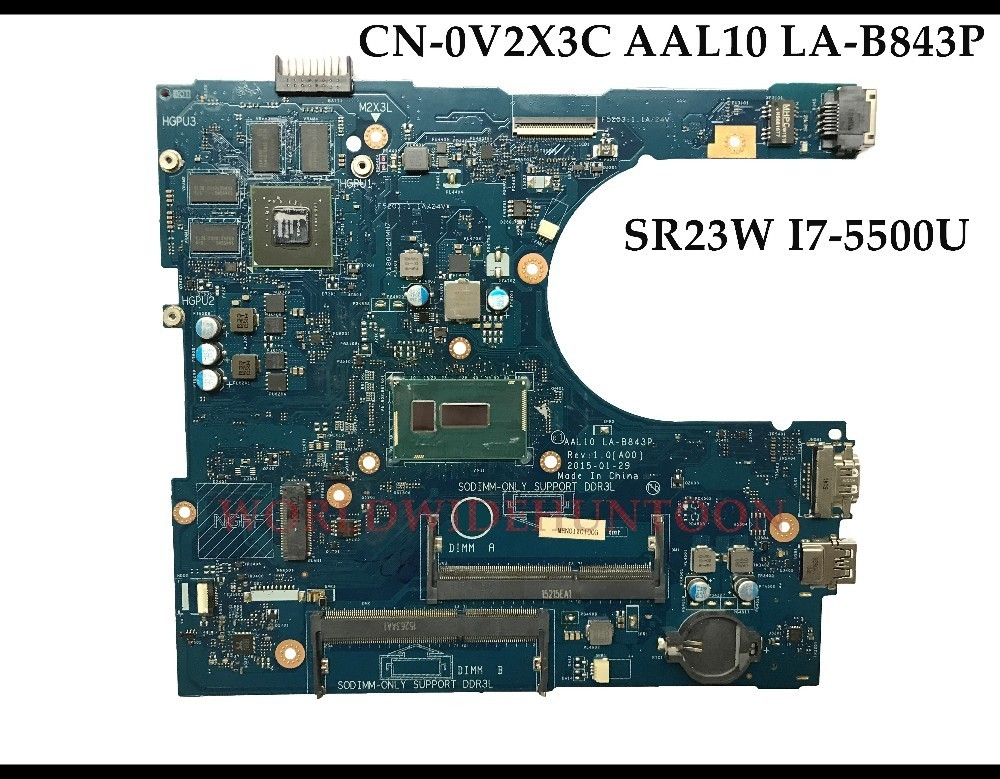 High quality AAL10 LA B843P V2X3C for Dell Inspiron 15 5758 laptop Motherboard CN 0V2X3C SR23W