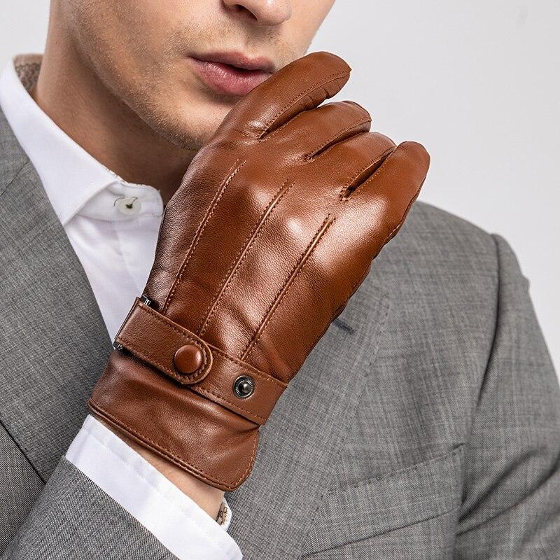 Sumusan hommes écran tactile véritable en cuir gants hiver chaud épais noir gants hommes étanche non-slip mitaines en cuir de mouton