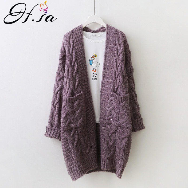 H.SA Women Sweater Cardigans V Neck Twisted Long Knit Jackets Big Pockets Spring Cardigans Long Jumpers Harajuku Warm  Poncho