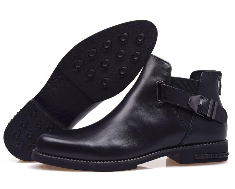 AMSHCA/Мужская Повседневная зимняя обувь из флока; теплые плюшевые зимние ботинки для мужчин; мужские ботильоны на плоской подошве со шнуровко... - 5
