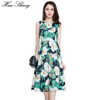 Green Floral Print Women Dress Summer 2018 O Neck Sleeveless Tank Casual Dress Plus Size High Wasit Tunic Ladies Office Dresses