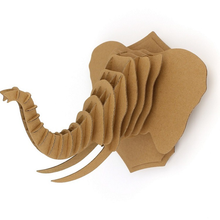 цены 3D Puzzle Paper DIY Creative Model Wall Hanging Deer Head Elk Elephant Rhinoceros Gift Craft Home Decoration Animal Wildlife