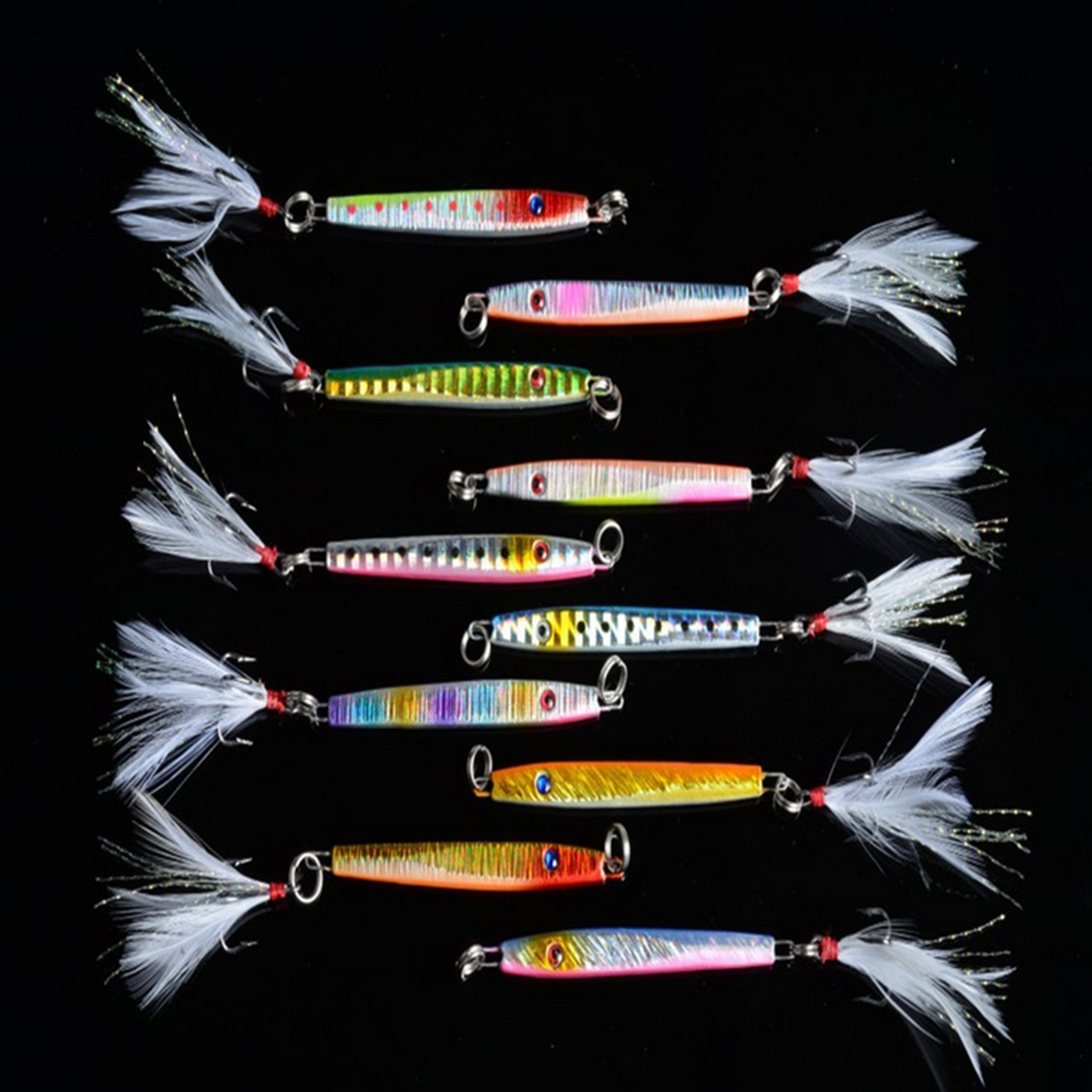 10Pcs Lead Jerbait Fishing Lure Minnow Fish Head Lead Diving Fish Jig Baits 8# Hook 5.7cm/10.9g Pecha Fishing Wobblers