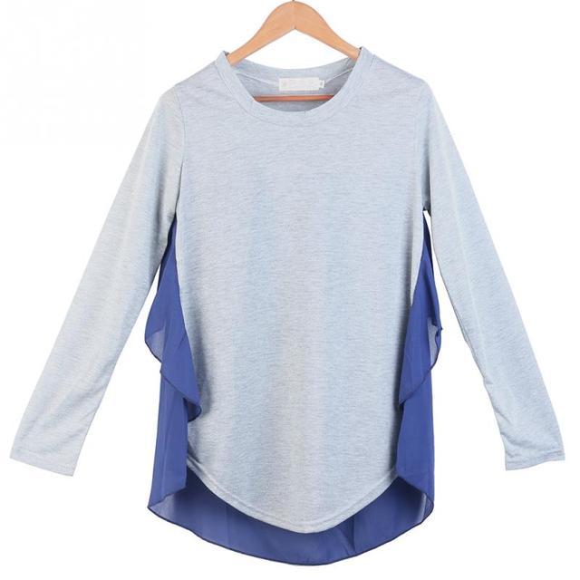 Свободные Случайные Горячие Моды Корейский Стиль женщин Дамы Свободные Повседневная Топы Рубашки Поло Серый С Длинным Рукавом Повседневные Топы подарки