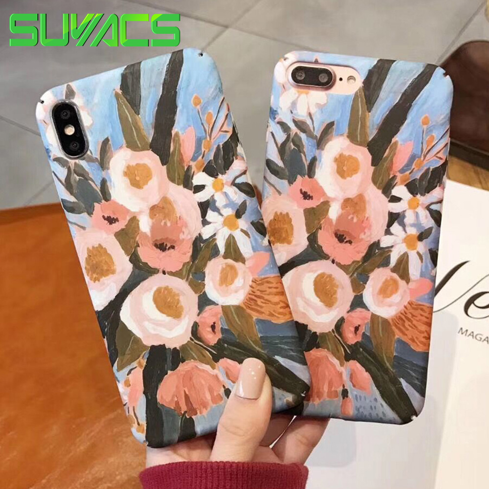 SUYACS Phone Case For iPhone 6 6S 7 8 Plus X XR XS MAX Cute Painting Flower Pattern Matte Fosted Hard PC Graphic Case Cover