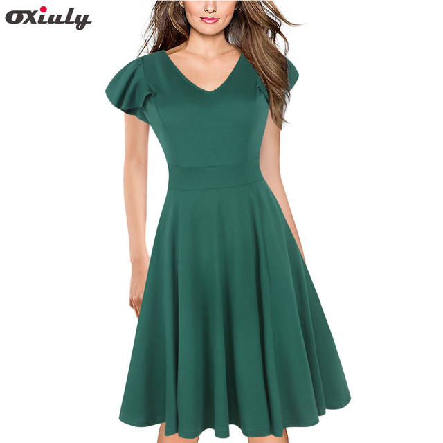 Oxiuly Vintage Solid Women Elegant Casual Work Party Fit and Flare A-line  Tunic Office Casual A Line Skater Dress Vestidos 6600915fcc80