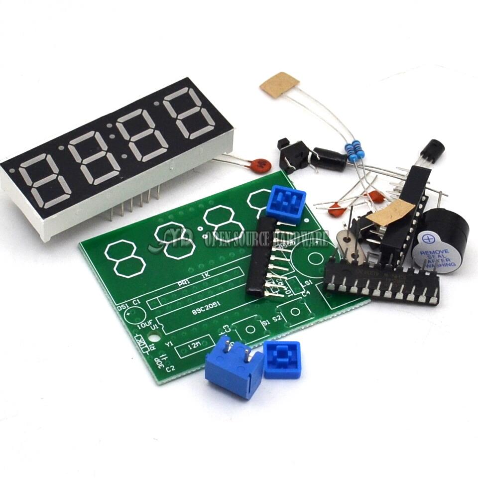 High Quality C51 4 Bits Electronic Clock Electronic Production Suite DIY Kits Free Shipping