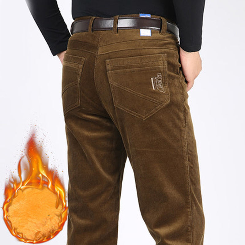 ICPANS Casual Pants Straight  Loose Fleece Thicken Warm Winter Pants Men Corduroy Men Trousers Plus Size 40 42 44 2018 New