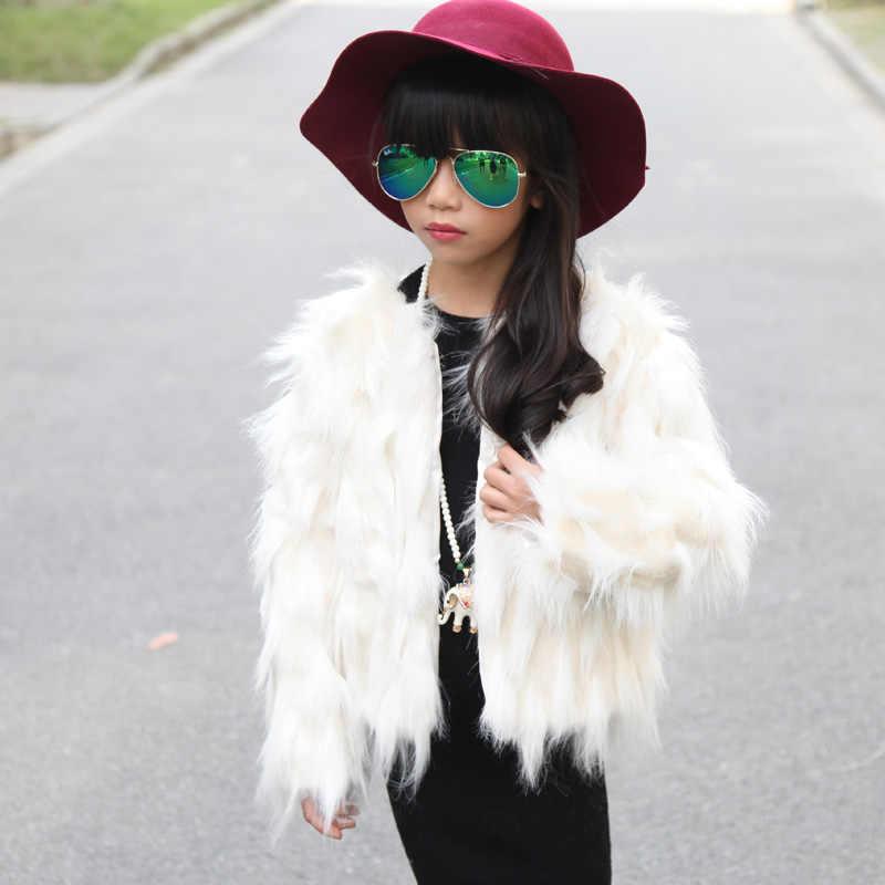2018 moda doce jacquard criança do sexo feminino projeto curto casaco de pele das crianças roupas espessamento térmica faux casacos de peles e casacos