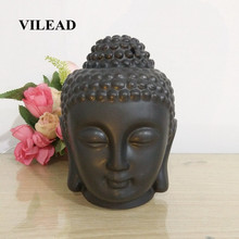 VILEAD 14.2cm Ceramic Handmade Hollow Buddha Head Figurines Stove Incense Accessories Southeast Asia Ornaments For Home Statues(China)