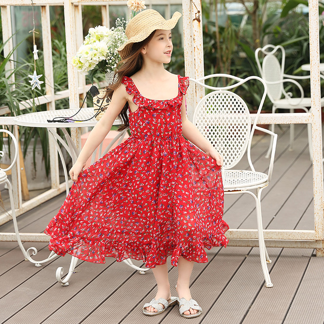 209cbf0e84b Big Girls Summer Chiffon Floral Dress Teen Girls Children Sling Beach Dress  Girl Princess Sundress Age 7 8 9 10 11 12 13 14 15y
