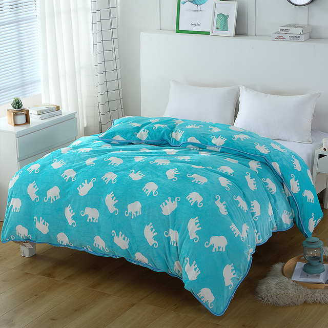 Small Fresh Blue White Elephant Pattern 1 Piece Duvet Cover With Zipper Quilt Or Comforter