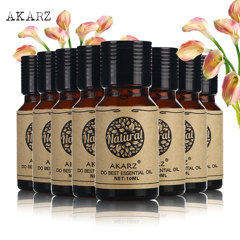 цена на AKARZ Famous brand value meals Musk lemon grass Rosemary Ylang Ylang Orchid Chamomile Oregano Cypress skin essential oil 10ml*8