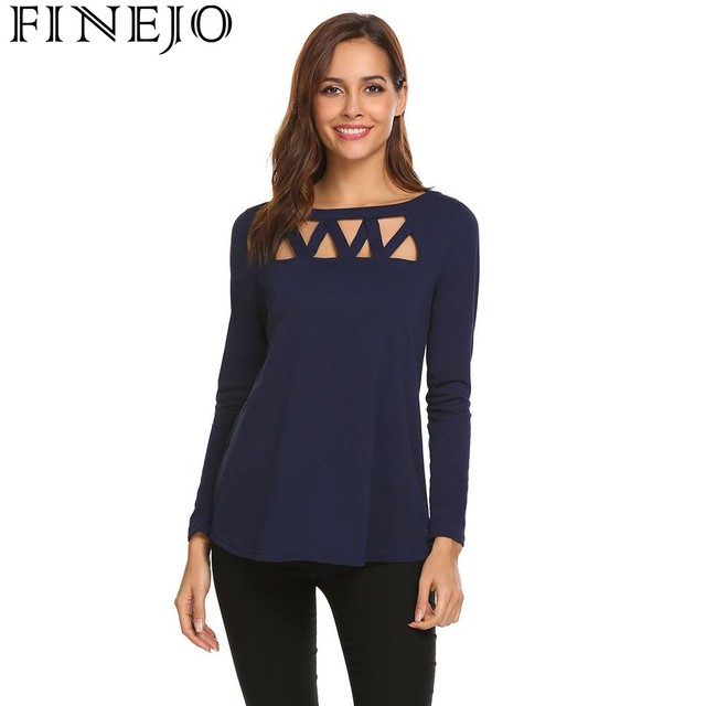 9c0f416467a1 FINEJO Crossing Straps Hollow Out Solid Sexy T-Shirt Women Casual O-Neck  Long Sleeve Spring Summer tshirt Tops Camisa Feminina