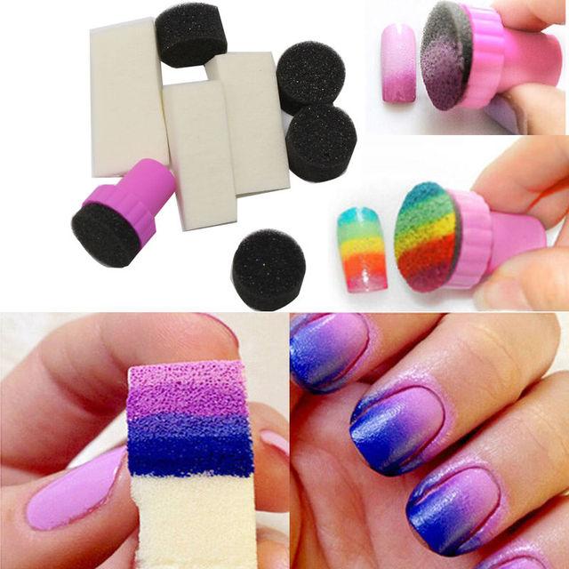 10pcs Set Omber Nail Art Sponge St Grant Color Sting Template Transfer Manicure Polish