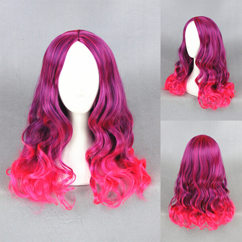 (Guardians of the Galaxy) Anime Hair Gamora Wig Medium Long Curly Hair Red Purple Mixed Gradient Cosplay Wig+Free hairnet