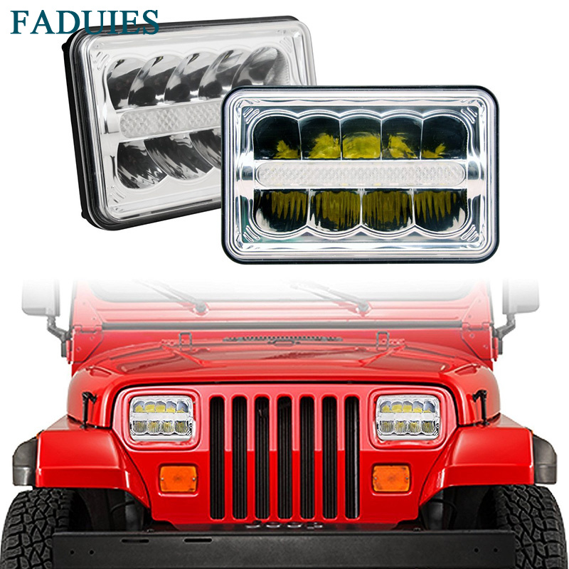 FADUIES 4x6 inch LED Headlights Rectangular Replacement H4651 H4652 H4656 H4666 H6545 With DRL For Kenworth Freightinger Ford