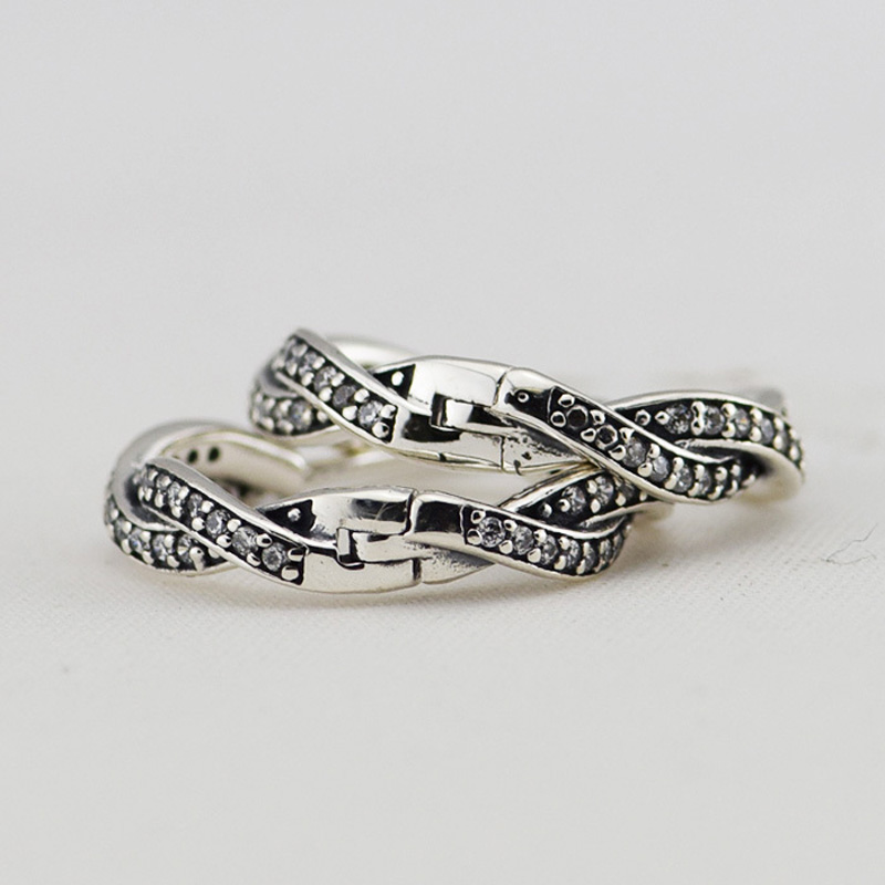 Authentic-925-Sterling-Silver-Braided-Hoop-Earring-with-CZ-Fashion-Jewelry-Earrings-For-Women-Free-Shipping (1)