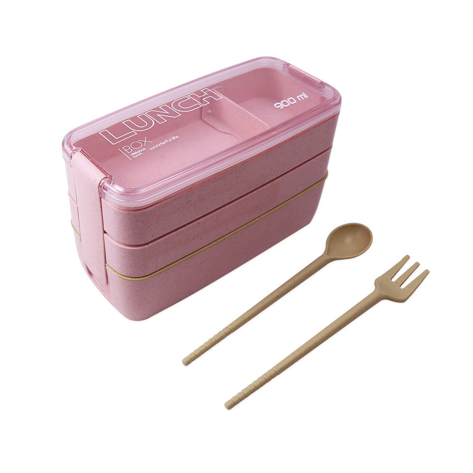 900ml 3 Layers Bento Box Eco-Friendly Lunch Box Food Container Wheat Straw Material Microwavable Dinnerware Lunchbox 2019 New
