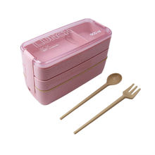 900ml 3 Layers Bento Box Eco-Friendly Lunch Box Food Container Wheat Straw Material Microwavable Dinnerware Lunchbox 2019 New(China)