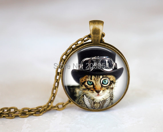 STEAMPUNK KITTEN NECKLACE bronze vintage victorian gears cat monocle antique hat