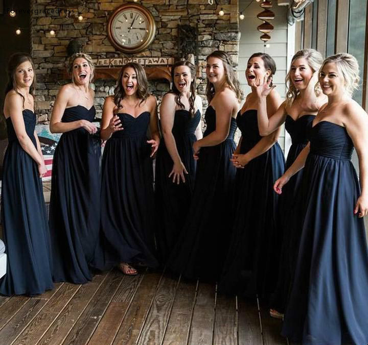 New Dark Navy Chiffon   Bridesmaid     Dresses   2019 Sweetheart Summer Country Garden Formal Wedding Party Guest Maid of Honor Gowns