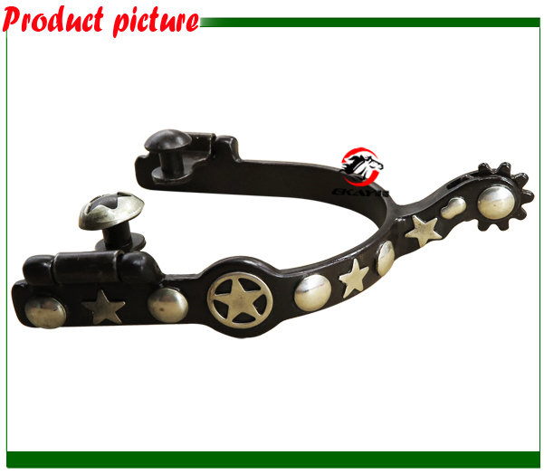 Free Shipping Antique Western Spur,with GS Dots/cutout Star,horse Spur.With GS Trims.(RSP5124)
