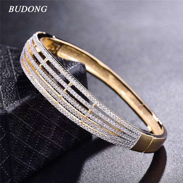 2017 Brand Fashion 5 Layer Love Bangle for Women  Gold  Plated Bracelet White CZ Zirconia Wedding Jewelry Z031