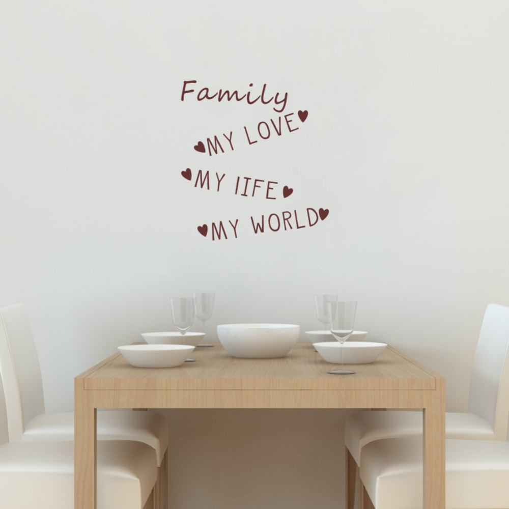 Family quotes wall decal my world my life my love art lettering family quotes wall decal my world my life my love art lettering vinyl wall sticker for room decoration in wall stickers from home garden on aliexpress amipublicfo Gallery
