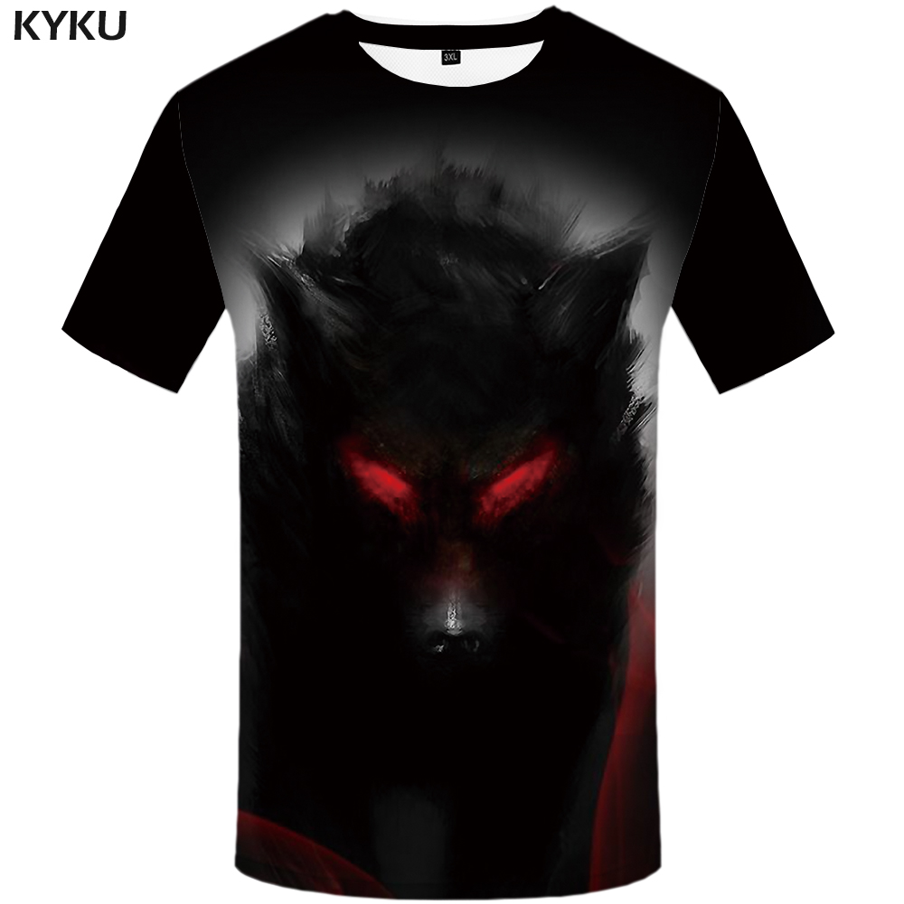 KYKU Wolf T shirt Women Blood Shirts Animal 3d T-shirt Eye Plus Size Clothes Tops Womens 2018 Sexy Top Tee Slim